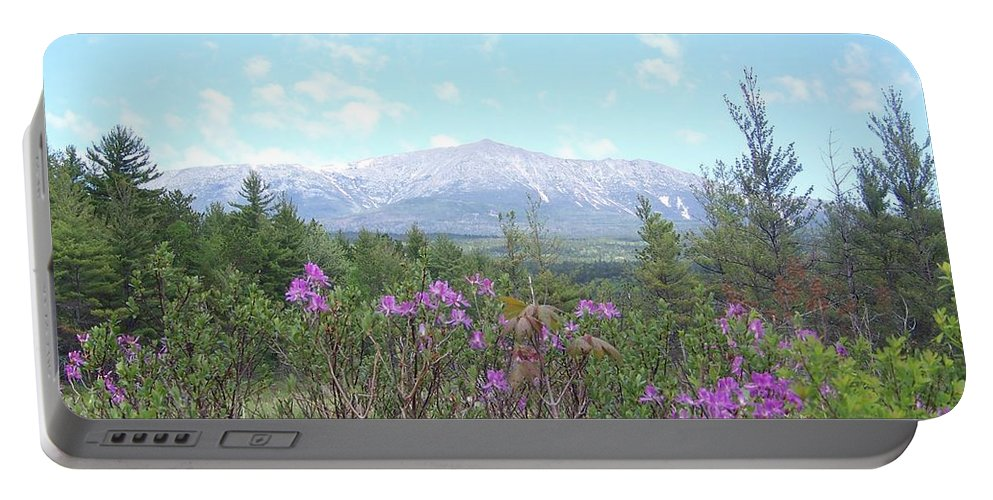 Mount Katahdin Portable Battery Charger featuring the photograph Mount Katahdin And Wild Flowers by Joseph Marquis