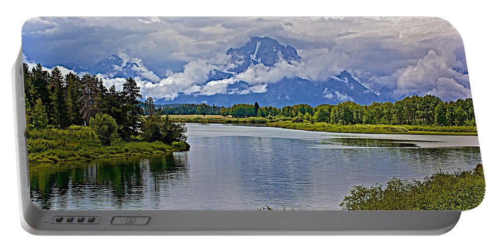 Mount Moran From Oxbow Bend In Grand Teton National Park Portable Battery Charger featuring the photograph Mount Moran From Oxbow Bend N Grand Teton National Park-wyoming by Ruth Hager