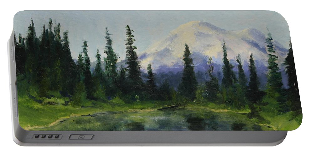 Mountains Portable Battery Charger featuring the painting Picnic By The Lake by Maria Hunt