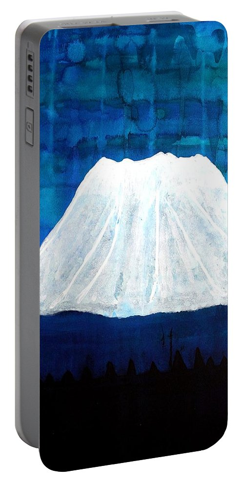 Mountain Portable Battery Charger featuring the painting Mount Shasta Original Painting by Sol Luckman