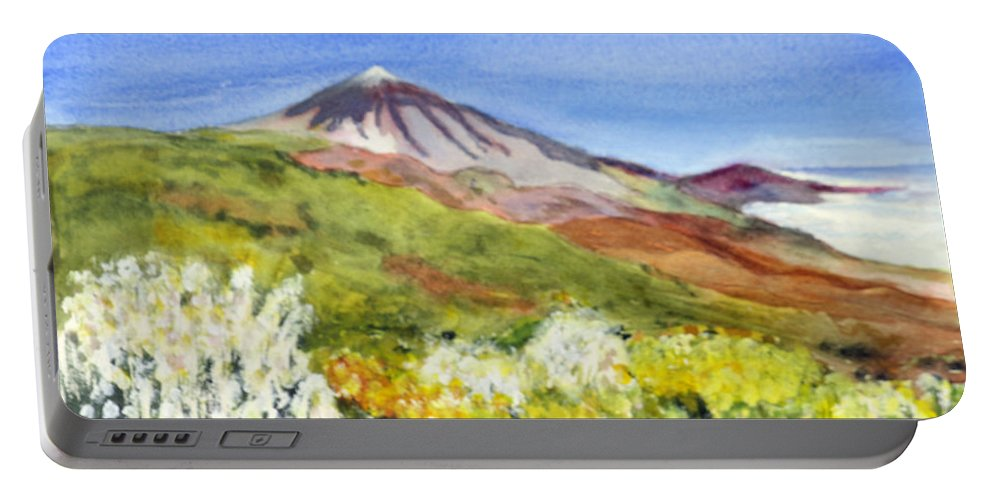 Beautiful Portable Battery Charger featuring the painting Mount Tiede In Tenerife by Donna Walsh