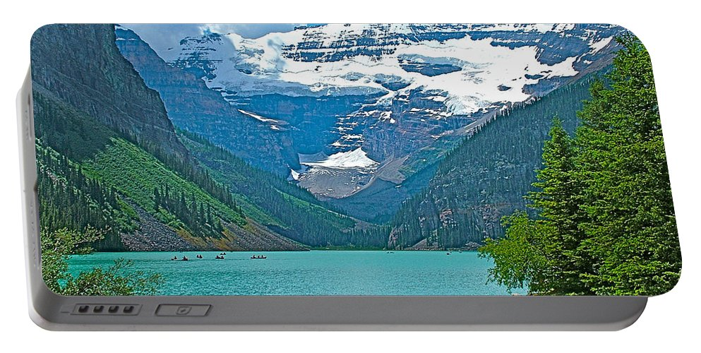 Mount Victoria Rises Above Lake Louise In Banff National Park Portable Battery Charger featuring the photograph Mount Victoria Rises Above Lake Louise In Banff Np-alberta by Ruth Hager