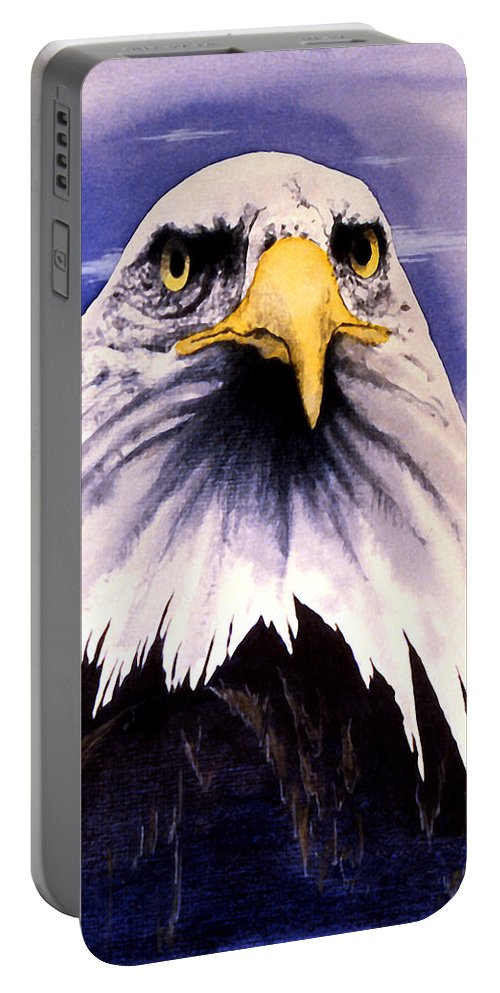Eagle Portable Battery Charger featuring the painting Mountain Bald Eagle by John D Benson