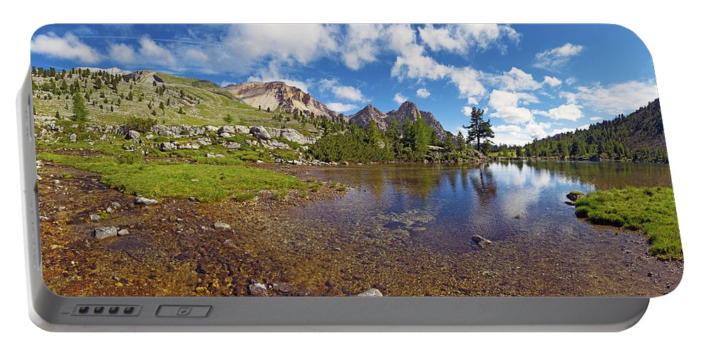 Mountain Lake Portable Battery Charger featuring the photograph Mountain Lake In The Dolomites by Chevy Fleet