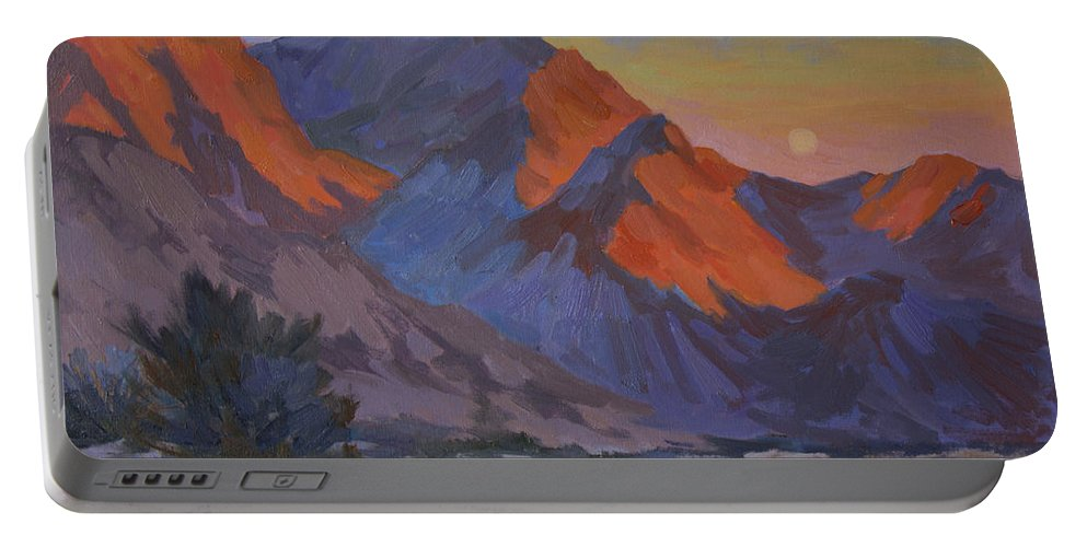 Desert Portable Battery Charger featuring the painting Mountain Morning by Diane McClary