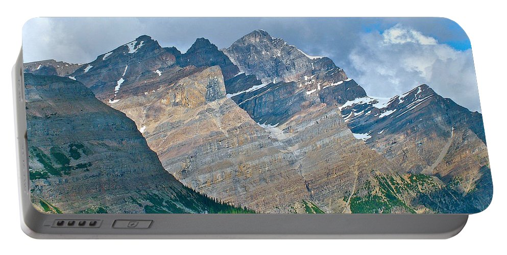 Mountain Peaks From Bow Summit Along Icefields Parkway In Alberta Portable Battery Charger featuring the photograph Mountain Peaks From Bow Summit Along Icefield Parkway In Alberta by Ruth Hager