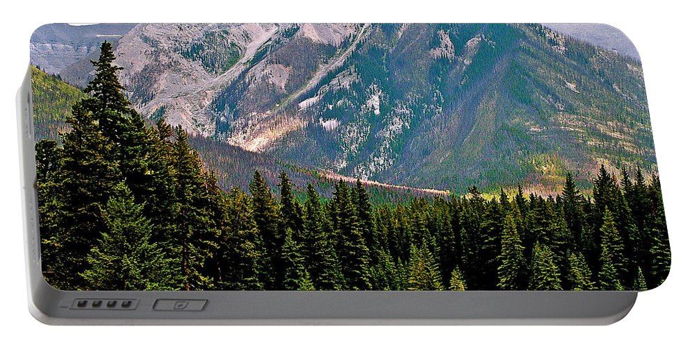 Mountain Peaks Over Johnson Lake In Banff National Park Portable Battery Charger featuring the photograph Mountain Peaks Over Johnson Lake In Banff Np-alberta by Ruth Hager