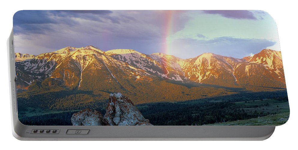 Rainbow Portable Battery Charger featuring the photograph Mountain Rainbow by Leland D Howard