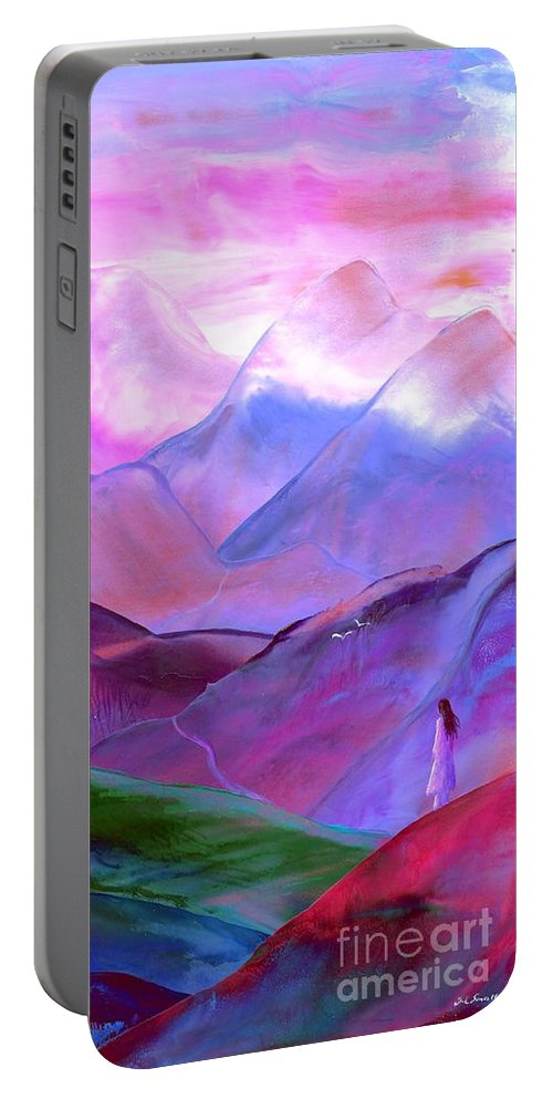 Meditation Portable Battery Charger featuring the painting Mountain Reverence by Jane Small