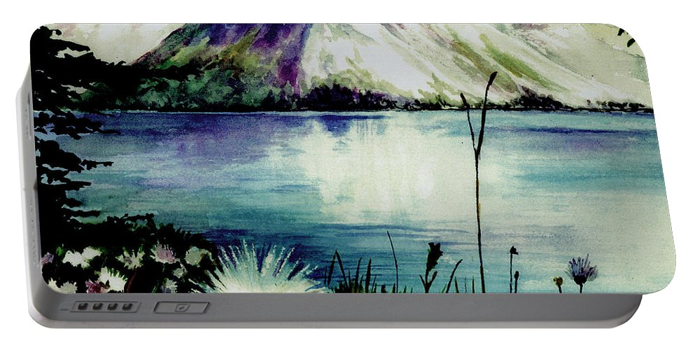 Landscape Portable Battery Charger featuring the painting Mountain Serenity by Brenda Owen