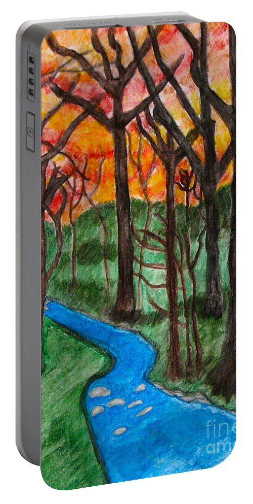 Mountain Stream Portable Battery Charger featuring the painting Mountain Stream by Anita Lewis