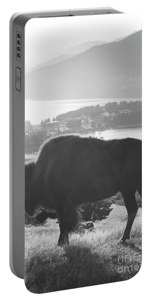 Buffalo Portable Battery Charger featuring the painting Mountain Wildlife by Pixel Chimp