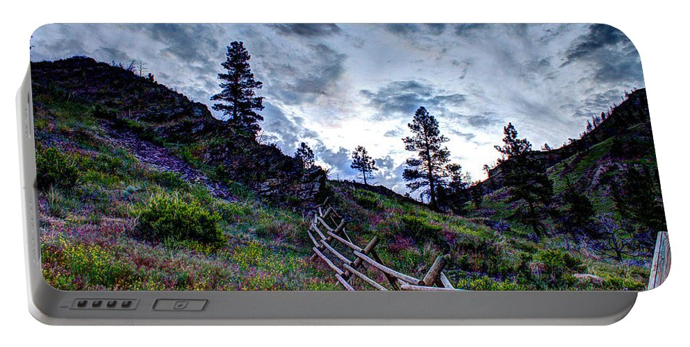 Wooden Fence Portable Battery Charger featuring the photograph Mountain Wooden Fence by John Lee