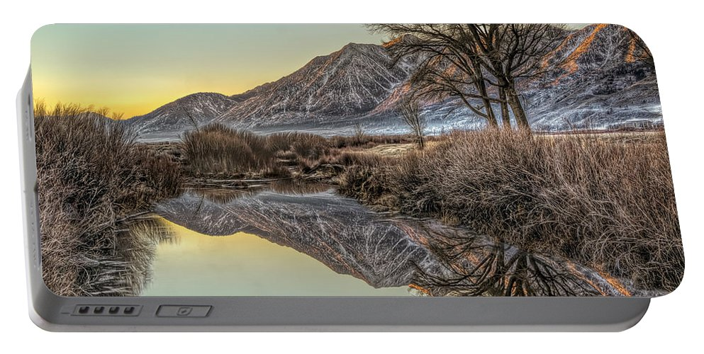 Background Portable Battery Charger featuring the photograph Mountains And Trees by Maria Coulson