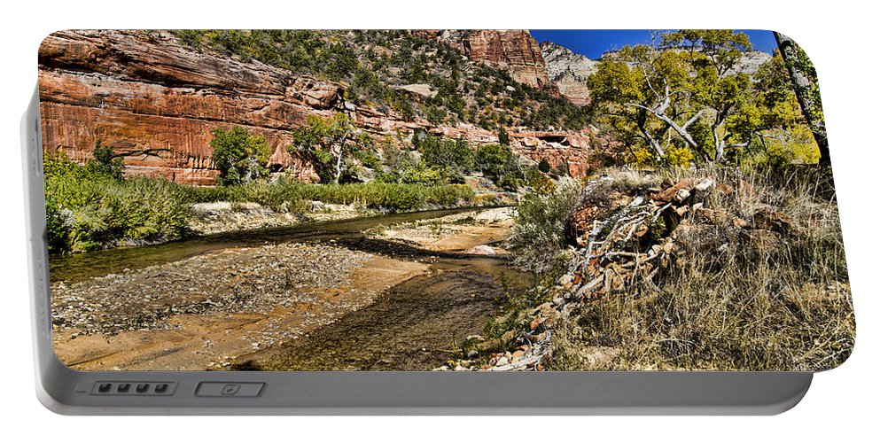 Zion National Park Utah Portable Battery Charger featuring the photograph Mountains And Virgin River - Zion by Jon Berghoff