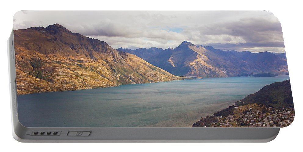 New Zealand Portable Battery Charger featuring the photograph Mountains Meet Lake #5 by Stuart Litoff
