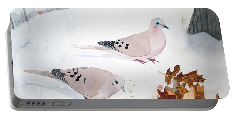 Mourning Doves Portable Battery Charger featuring the painting Mourning Doves by Laurel Best