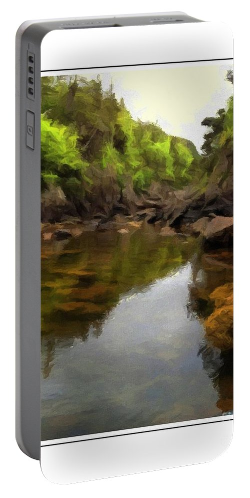 Mouth Of The Brook Portable Battery Charger featuring the painting Mouth Of The Brook - Calm - Shallow Water by Barbara Griffin