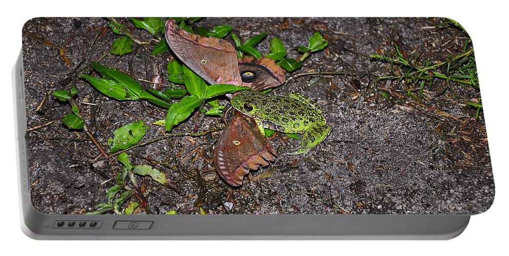 Frog Portable Battery Charger featuring the photograph Mouthful Of Moth by Al Powell Photography USA