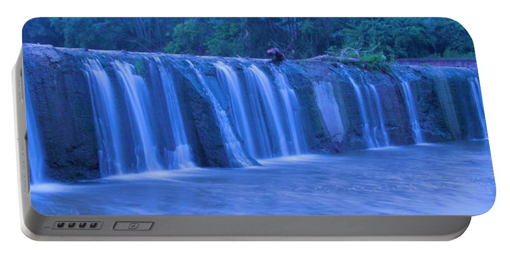 Moving Water Portable Battery Charger featuring the photograph Spring Waterfall by Dan Sproul