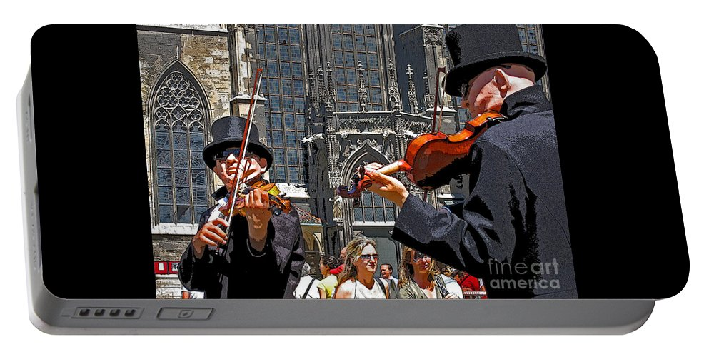 Buskers Portable Battery Charger featuring the photograph Mozart In Masquerade by Ann Horn