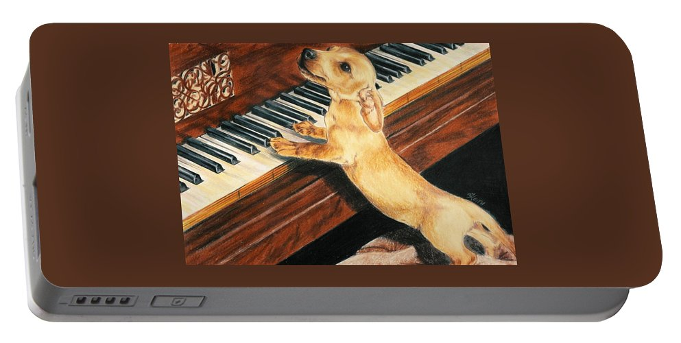 Purebred Dog Portable Battery Charger featuring the drawing Mozart's Apprentice by Barbara Keith
