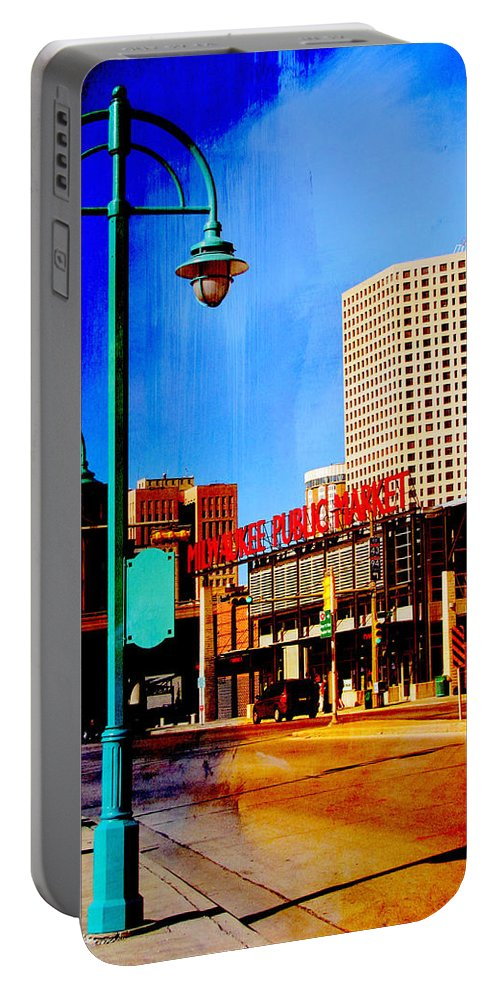 Milwaukee Portable Battery Charger featuring the digital art Mpm And Lamp Post Abstract Painting by Anita Burgermeister