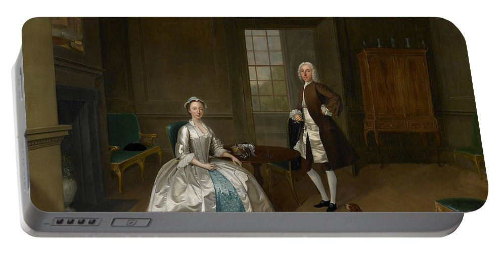 Arthur Devis Portable Battery Charger featuring the painting Mr And Mrs Atherton by Arthur Devis