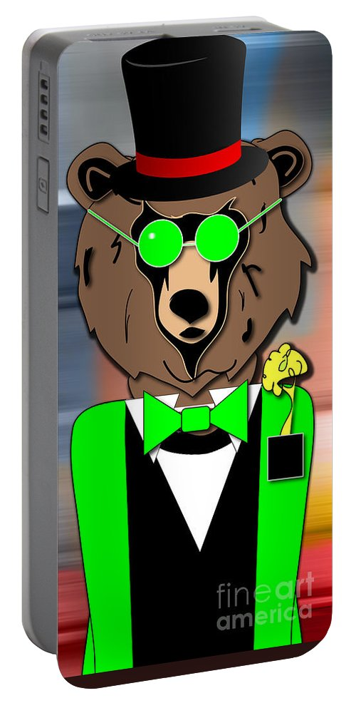 Bear Paintings Mixed Media Mixed Media Portable Battery Charger featuring the mixed media Mr Bear by Marvin Blaine