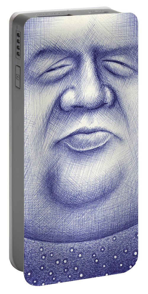 Moon Portable Battery Charger featuring the drawing Mr. Moon by Cristophers Dream Artistry
