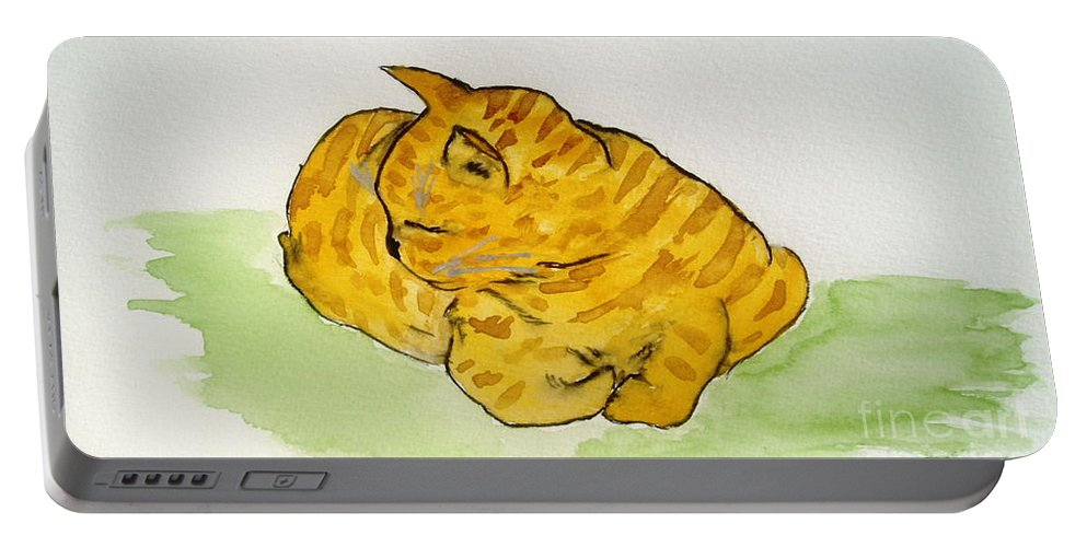 Cat Painting Portable Battery Charger featuring the painting Mr. Yellow by Reina Resto