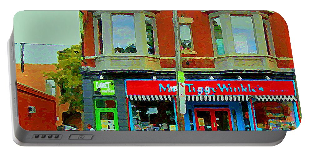 Ottawa Portable Battery Charger featuring the painting Mrs Tiggy Winkle's Toy Shop And Lost Marbles Richmond Rd The Glebe Paintings Ottawa Scenes C Spandau by Carole Spandau