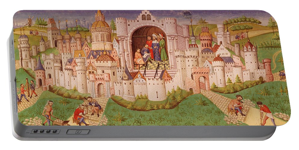 Medieval Portable Battery Charger featuring the painting View Of A City With Laborers Paving Roads Leading Up To The City Gates With Cobbles by French School