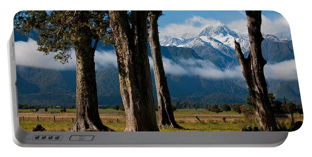 Mt Cook Portable Battery Charger featuring the photograph Mt Cook Through Trees by Jenny Setchell