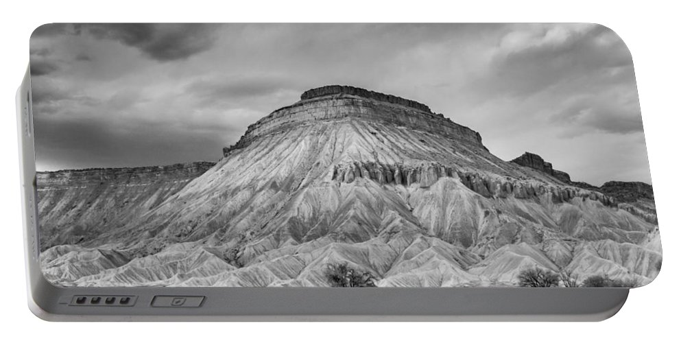 Spring Portable Battery Charger featuring the photograph Mt. Garfield - Black And White by Jeff Stoddart