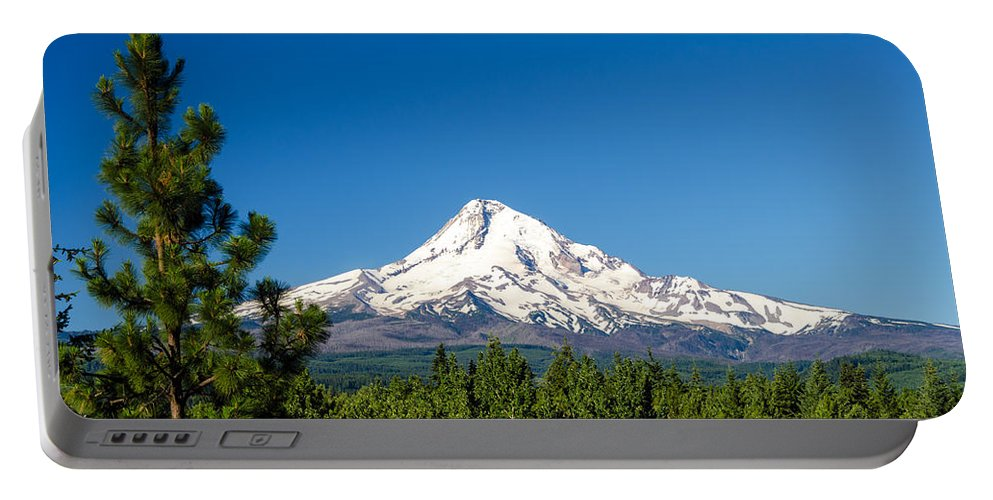 Mountain Portable Battery Charger featuring the photograph Mt. Hood And Pine Trees by Jess Kraft