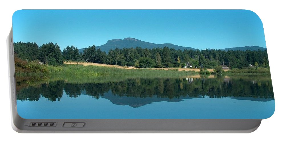 Landscape Portable Battery Charger featuring the photograph Mt Prevost Over Quamichan Lake by Wayne Enslow