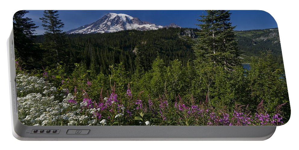 3scape Portable Battery Charger featuring the photograph Mt. Rainier by Adam Romanowicz