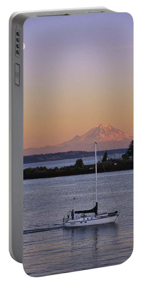 3scape Photos Portable Battery Charger featuring the photograph Mt. Rainier Afterglow by Adam Romanowicz