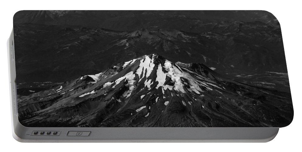 Mt Portable Battery Charger featuring the photograph Mt Shasta Black And White by John Daly