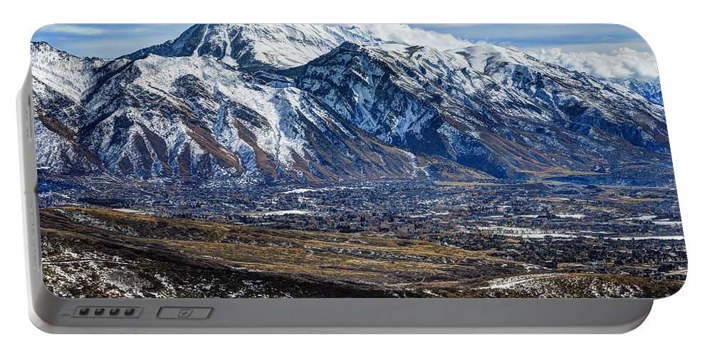 Wasatch Mountains Portable Battery Charger featuring the photograph Mt. Timpanogos In Winter From Utah Valley by Gary Whitton