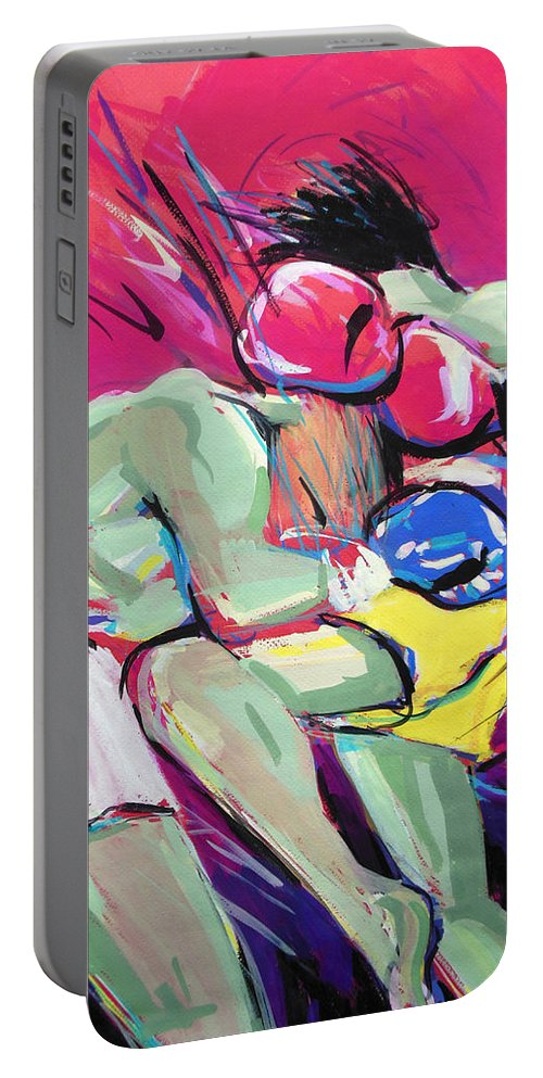 Muay Thai Portable Battery Charger featuring the painting Muay Thai by Lucia Hoogervorst
