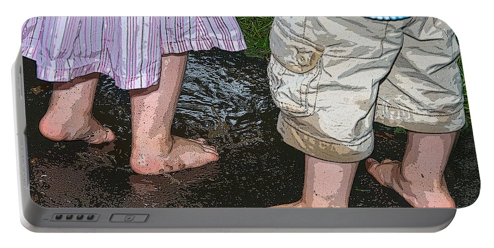 Tiny Feet Portable Battery Charger featuring the photograph Mud Puddles by Georgette Grossman