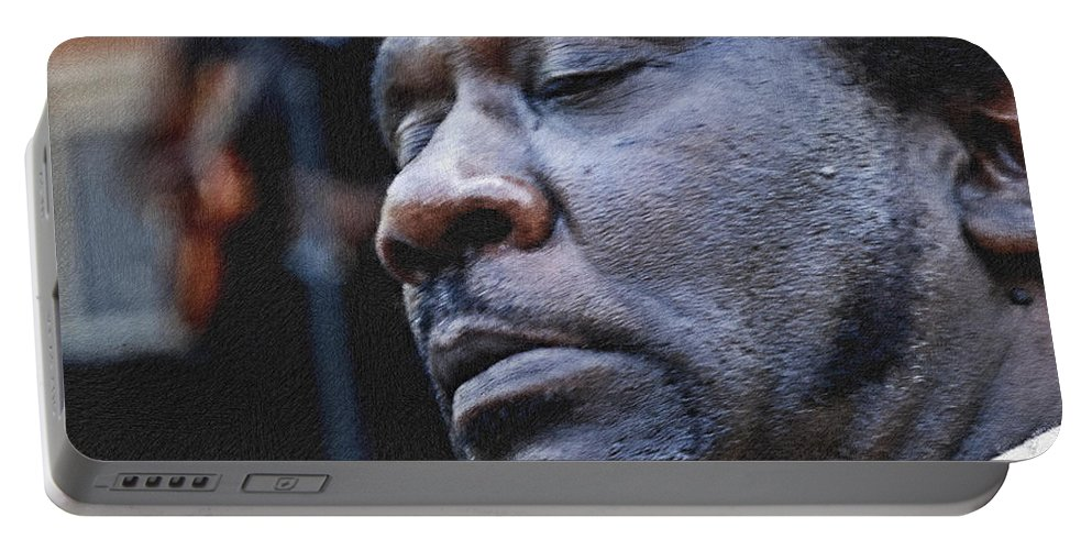 Chicago Blues Festival Portable Battery Charger featuring the photograph Muddy Jr. Pastel Chalk 2 Hp by David Lange