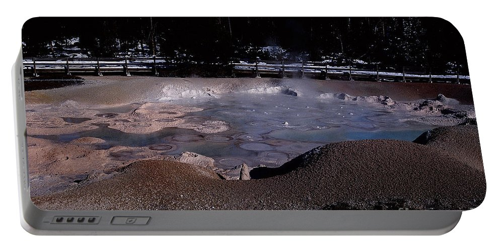 Yellowstone Portable Battery Charger featuring the photograph Mudpots Area I V by Sharon Elliott