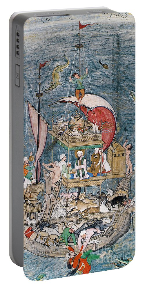 1590 Portable Battery Charger featuring the painting Mughal - Noah's Ark by Granger