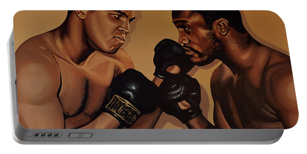Mohammed Ali Versus Joe Frazier Portable Battery Charger featuring the painting Muhammad Ali And Joe Frazier by Paul Meijering