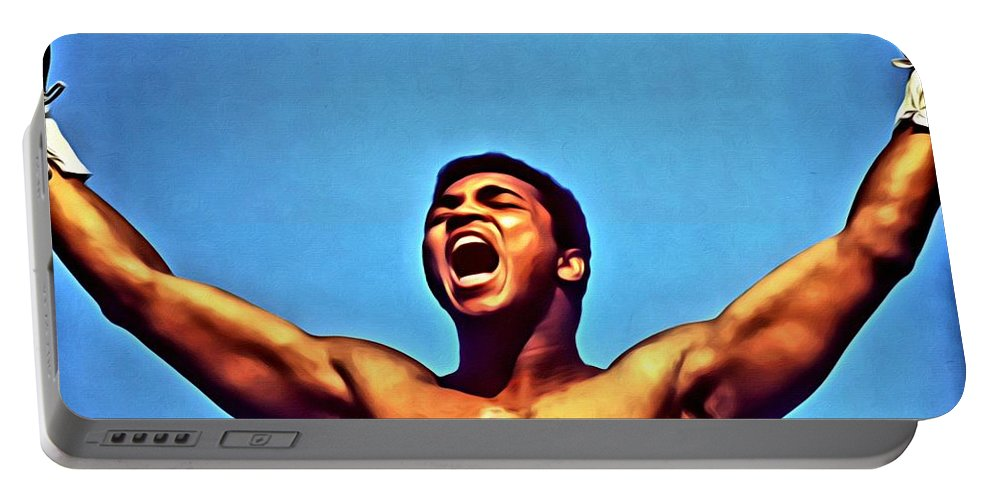 Sport Portable Battery Charger featuring the painting Muhammad Ali by Florian Rodarte