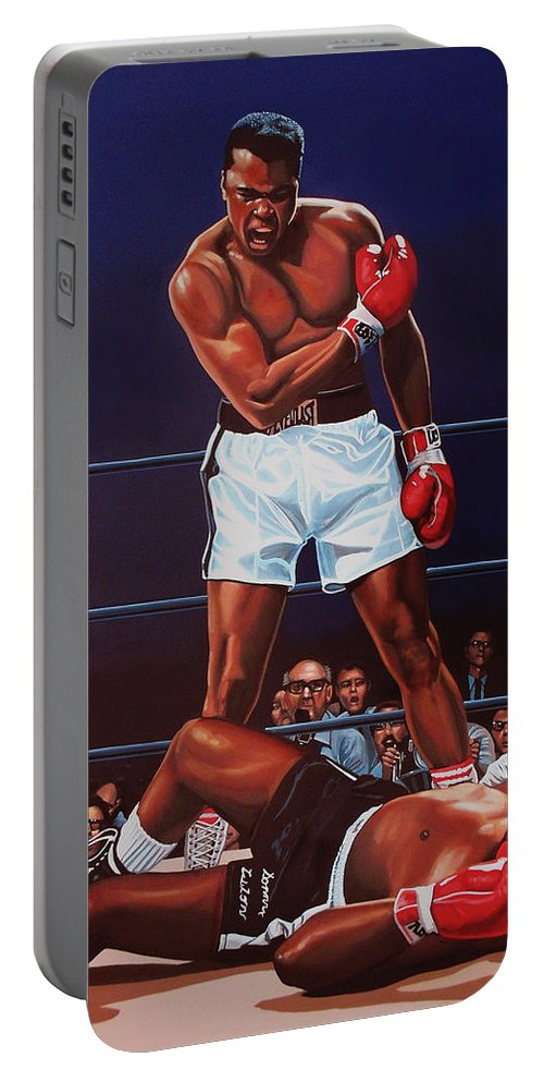 Mohammed Ali Versus Sonny Liston Portable Battery Charger featuring the painting Muhammad Ali Versus Sonny Liston by Paul Meijering