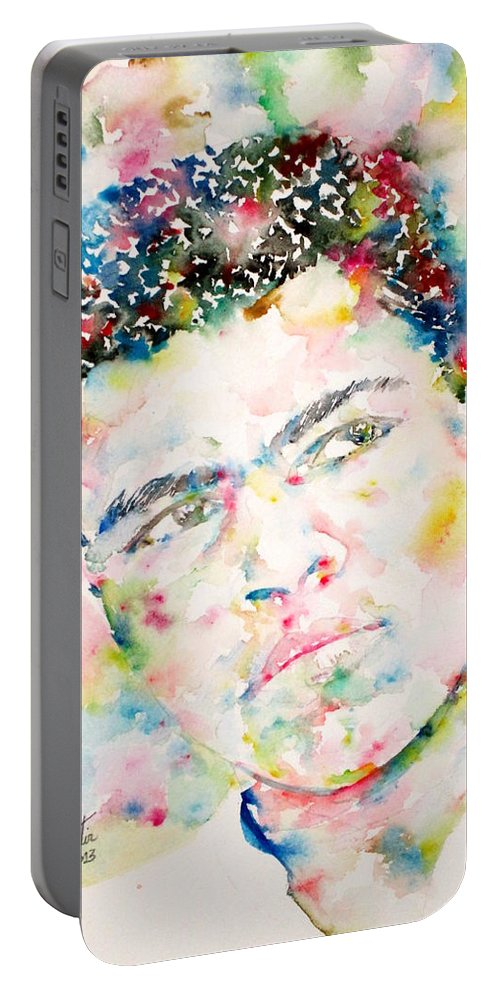Muhammad Ali Portable Battery Charger featuring the painting Muhammad Ali - Watercolor Portrait.1 by Fabrizio Cassetta